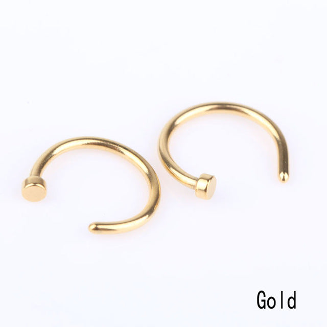 1 Pair Fashion Style Medical Hoop Nose Rings Clip On Nose Ring Body
