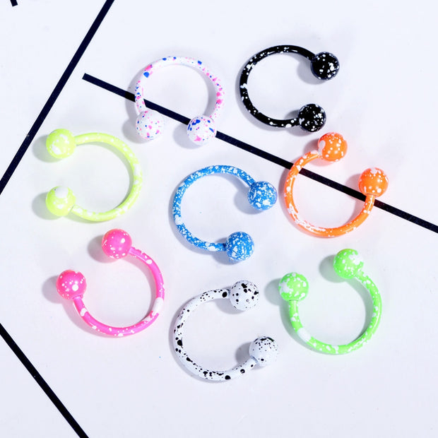 8Pcs Mix Color 316L Earring Internal Piercing Septo Nose Lip Eyebrow