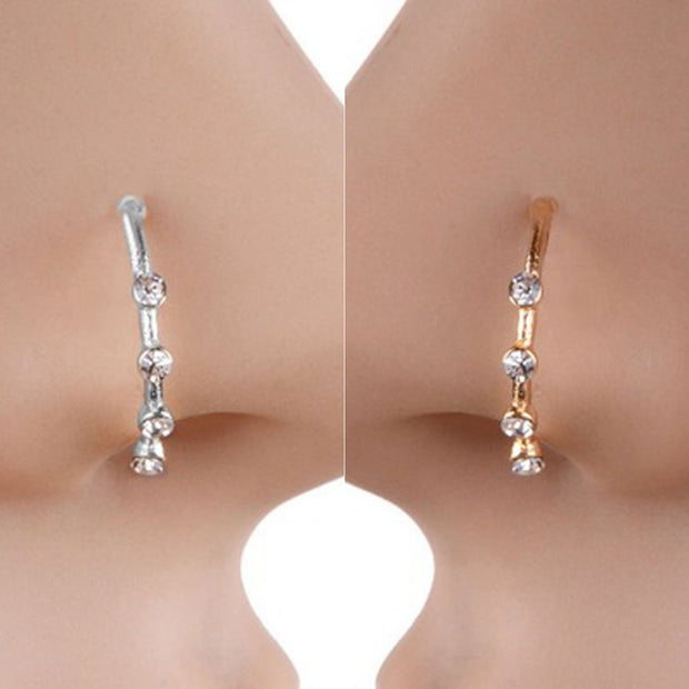 Hot Nose Ring Body Jewelry Punk Piercing Crystal Rhinestone Nose