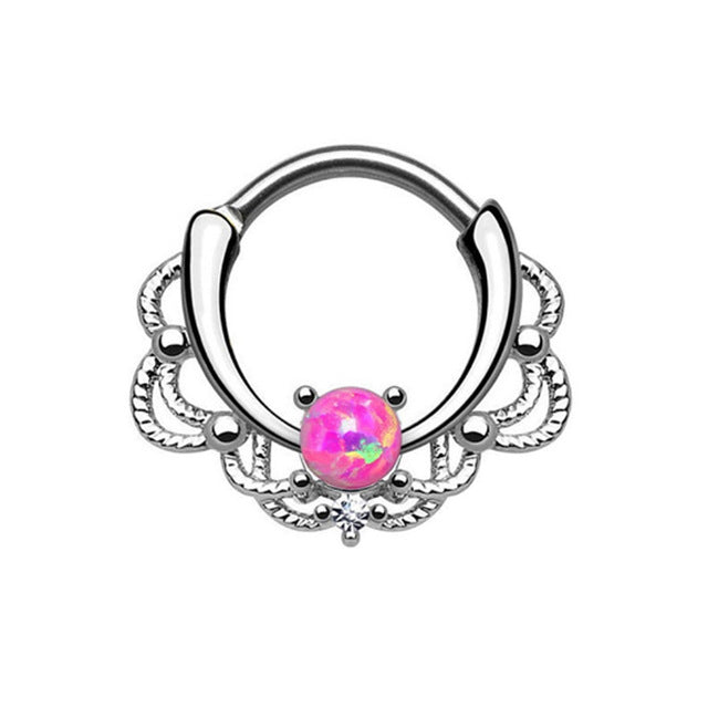 1 piece New Fashion 2017 Lacey Opal Gem Septum Ring Rook Clicker