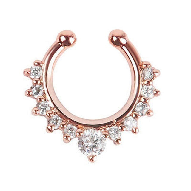 2017  Women nose Rings Crystal Fake Nose Ring Septum Piercing Hanger