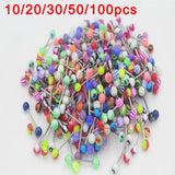 10/20/30/50/100 pcs Double Acrylic Ball Tongue Nipple Ear Rings Bars Barbell Plug Tunnel Body Piercing Jewelry Random Color @M23