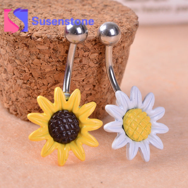Gofuly NEW Top Brand  Sunflower Flower Surgical Steel Belly Button
