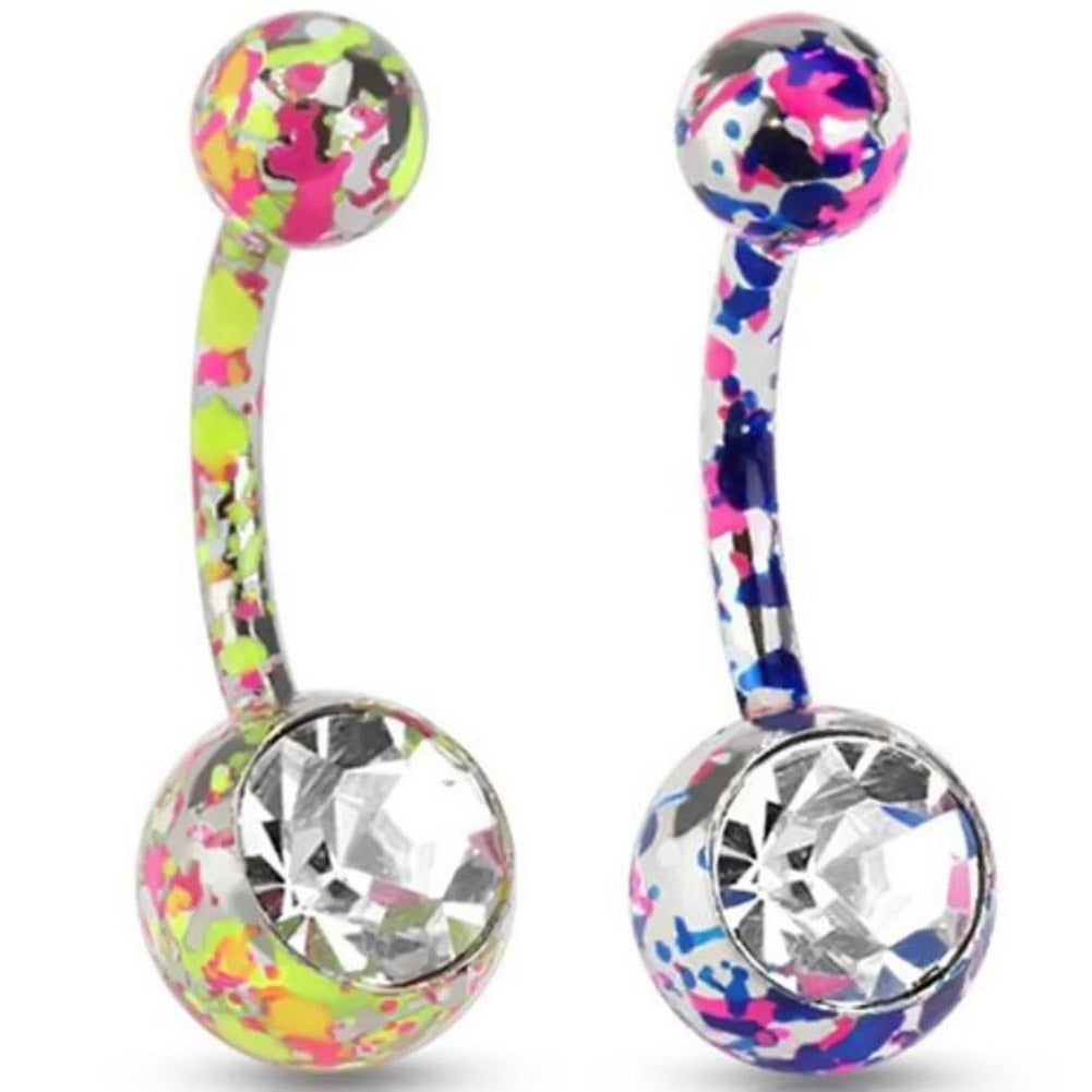 1 PC Paint Camouflage Colorful Navel Piercing Earrings Ball