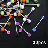 10/20/30/50/100 pcs Double Acrylic Ball Tongue Nipple Ear Rings Bars Barbell Plug Tunnel Body Piercing Jewelry Random Color