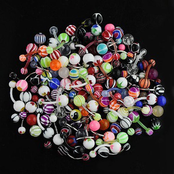 10pcs/lot Fashion Mixed Color Navel Belly Button Bar Rings Piercing