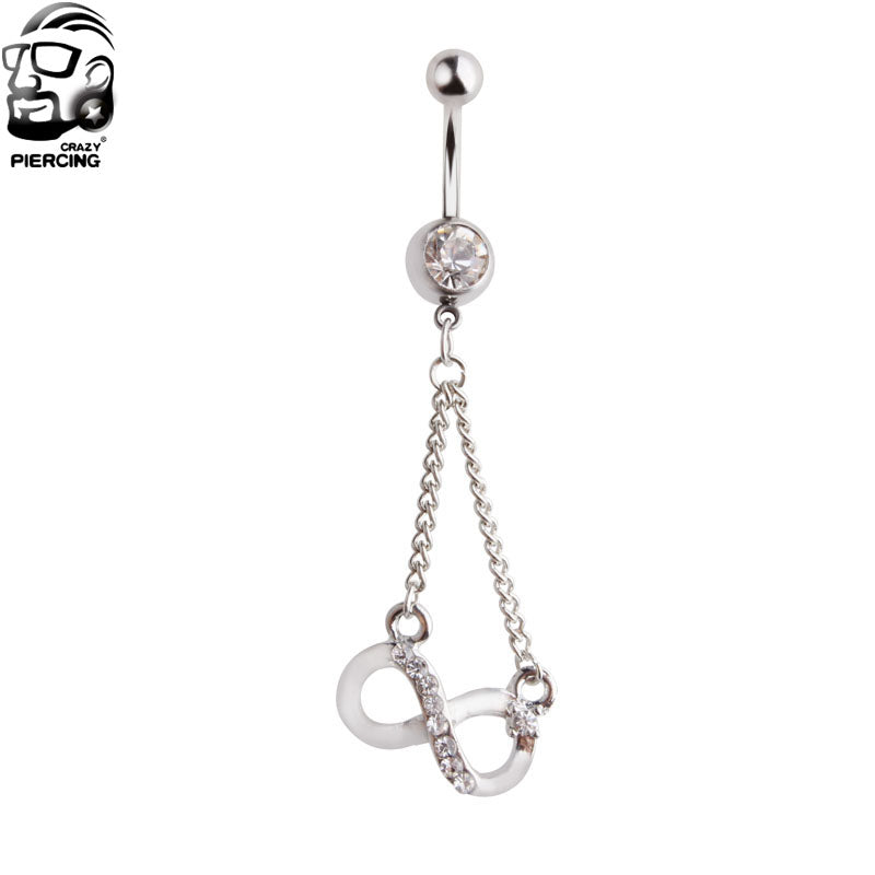1 Piece 316L Stainless 8-shaped pendant Crystal Devil Belly Button