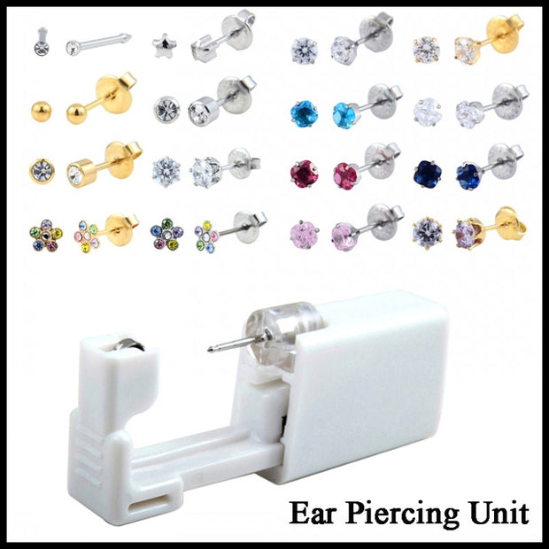 1PC Disposable No Pain Safe Sterile Ear Stud Piercing Unit Kit Nose