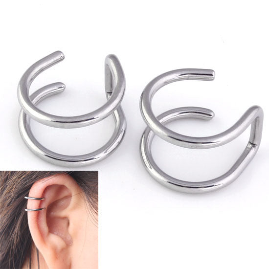 1 Pair 16G Stainless Steel 2 Rings Ear Cuff Clip Women Men Fake