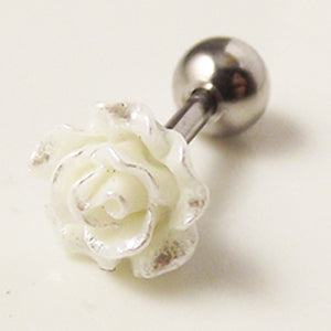 1 piece 16G 6mm Fashion Earring Nail Ear Bone Barbell White Flower