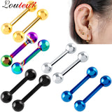 LOULEUR 2017 1 pair Stainless Steel Ball Barbell Ear Plugs Piercing Ear Stud Tragus Cartilage Helix Piercing Body Jewelry