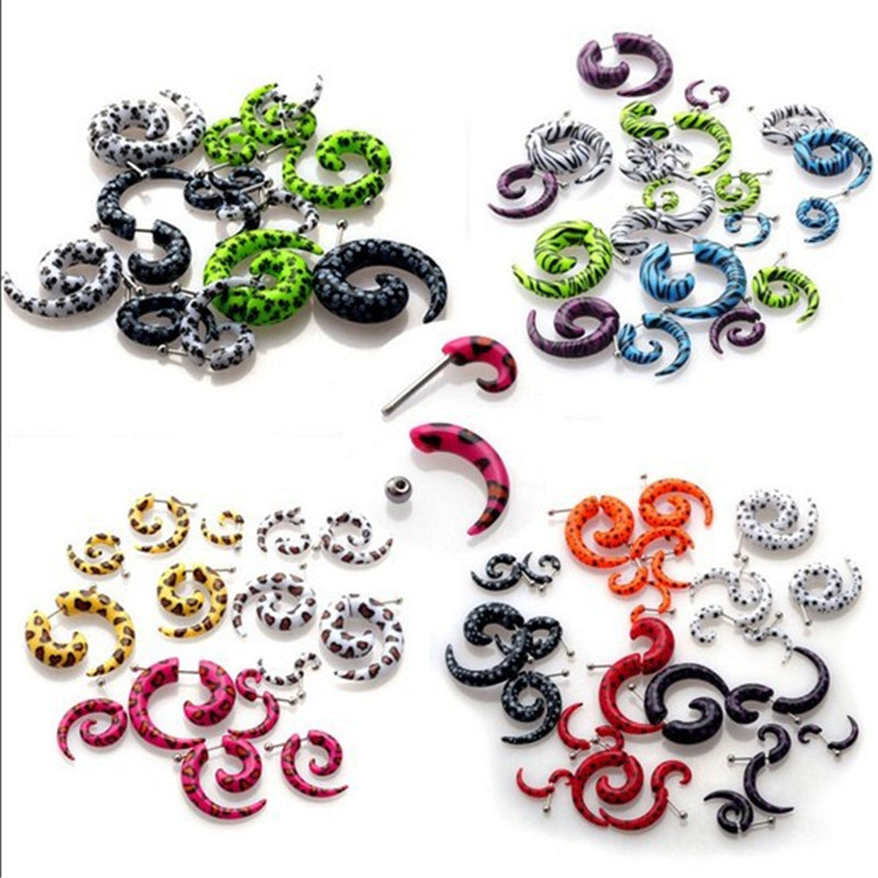 10pcs Acrylic Fake Cheater Stretcher Twist Spiral Gauges Expanders
