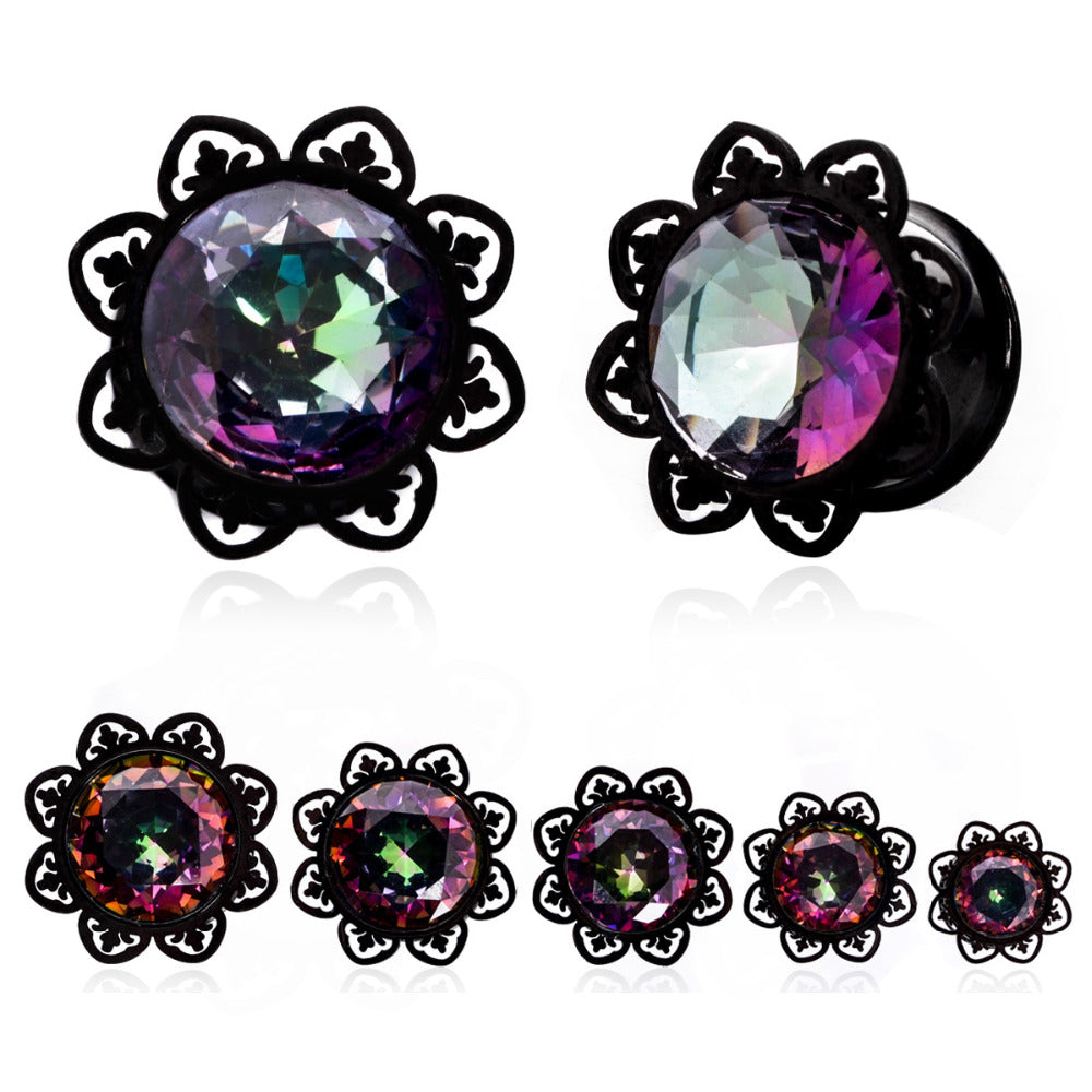 1Pair Crystal Zircon Ear Tunnels Plug Shellhard Stainless Steel