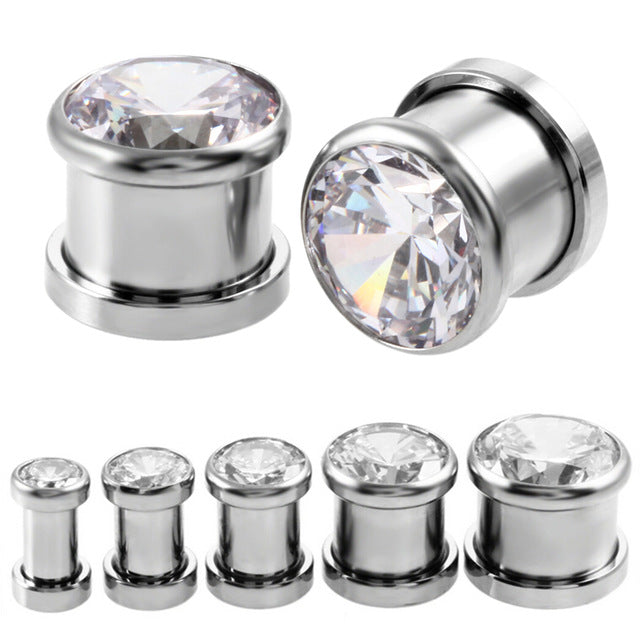 1 Pair 6-16mm Crystal Ear Tunnels Plug Shellhard Vintage Stainless
