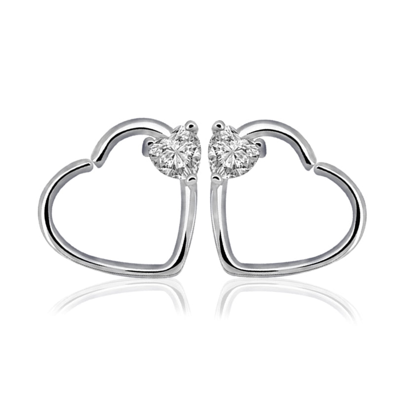 1 Pair Fashion Style Heart Shaped Waves Nose Rings Clip On Earring