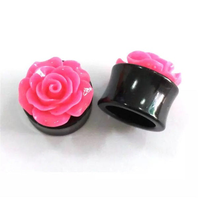 1 Piece Ear Expansion Rose Flower Ear Plug Black Acrylic Ear Plug