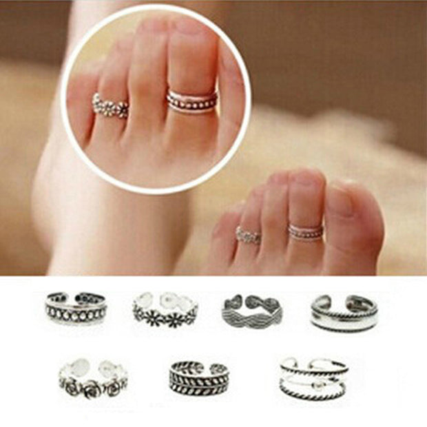 TV Drama Same Style Adjustable Metal Foot Toe Ring - Color Silver