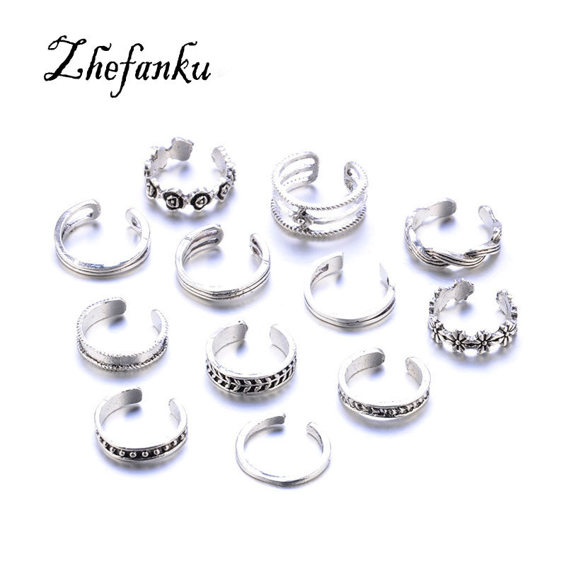 12Pcs/Set Retro Hollow Flower Adjustable Open Toe Rings Finger Foot
