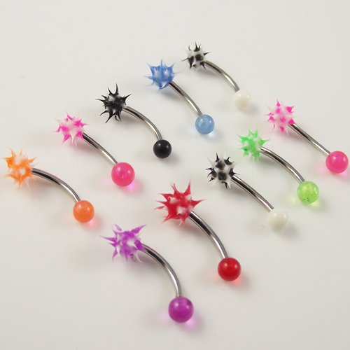 10pcs Mix Color Eyebrow ring  Eye body piercing jewelry Curved Barbell