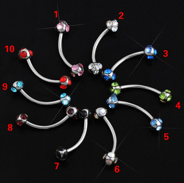 10 pcs 10 color mix Crystal eyebrow ring Ball Micro Barbells Eyebrow