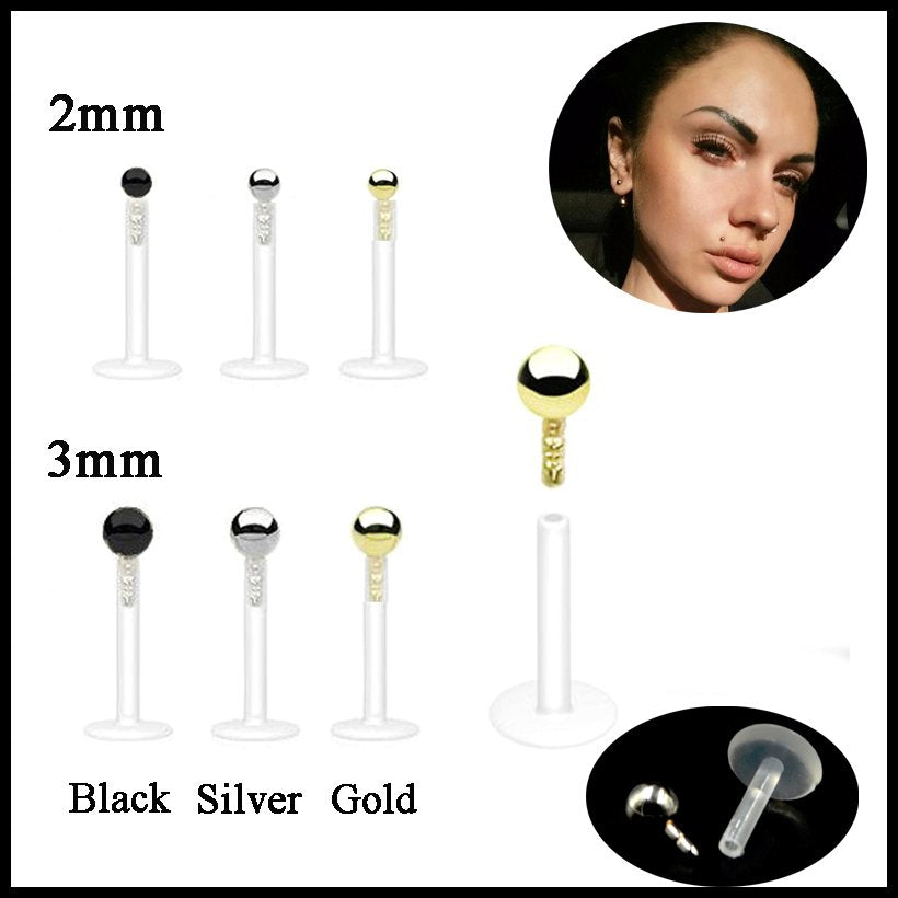 1PC Bioplast Flexible Push-in Labret Lip Stud Black&Gold&Steel Ball