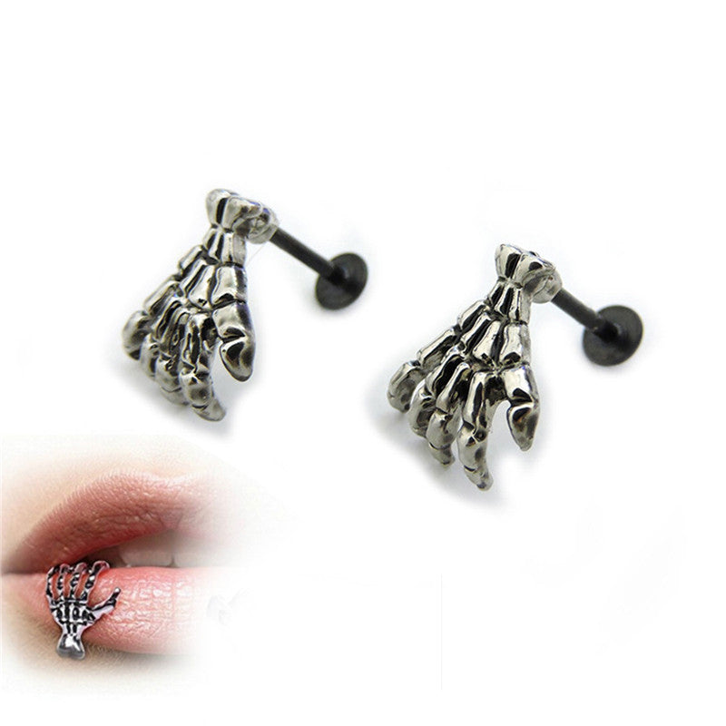 1 pcs Punk Skull Shape Devil Hand Kylie Lip Piercing Jewelry