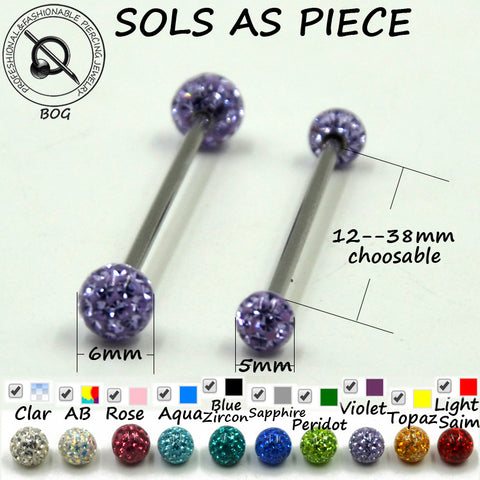 1PC Straight Industrial Barbells Bars Tongue Nipple Ear Cartilage