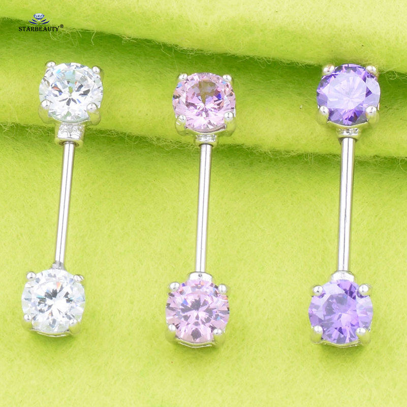 1 Pair High Quality 7mm Pink White AAA Zircon Nipple Piercing
