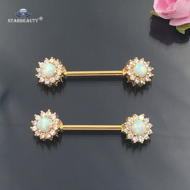Starbeauty 2 pcs/lot Luxury White Opal Nipple Piercing Shields Barbell