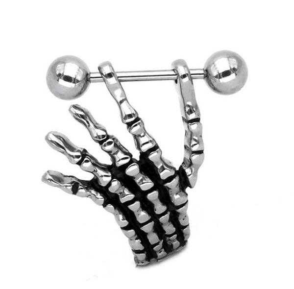 1 Pair 316L Surgical Steel Barbell Piercing  Skeleton Ghost Hand