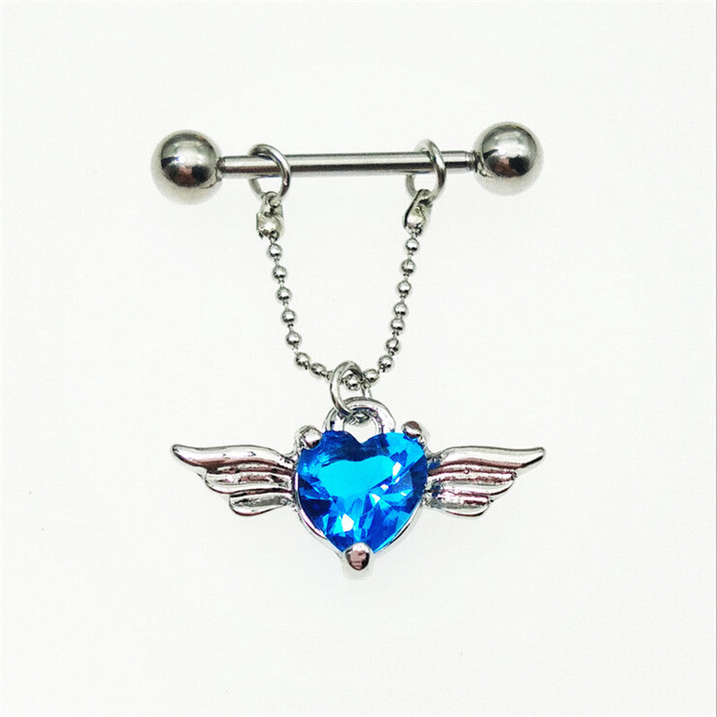 1 piece stainless steel wing blue crystal nipple piercing rings