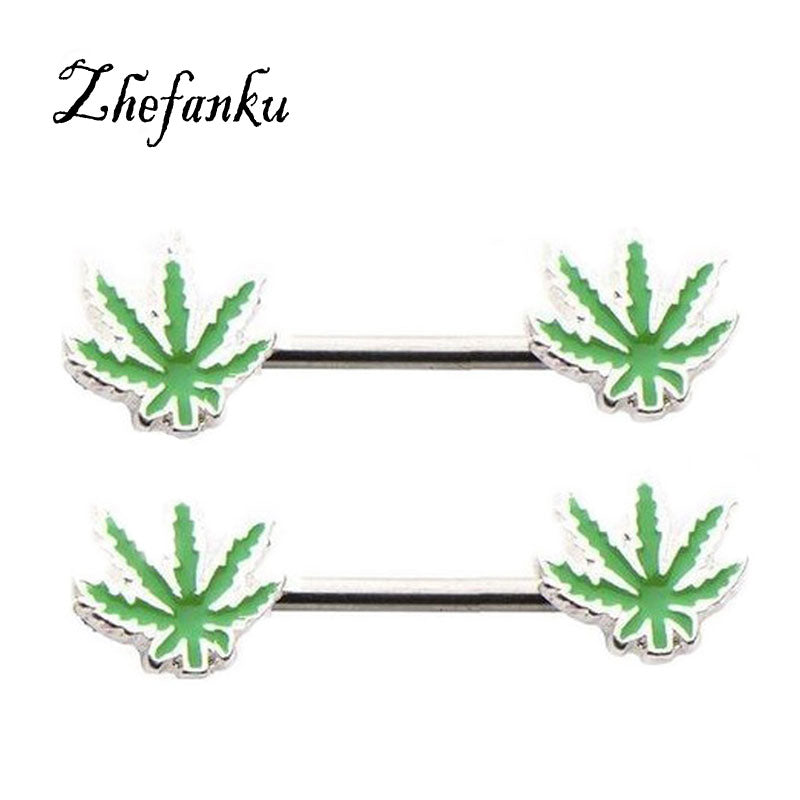 1 Pc ! Nipple Ring Surgical Steel Sexy Maple Leaf Leaves Mamilo