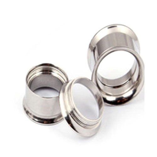 1Pair Titanium Steel Ear Plugs and Tunnels Double Flared Ear