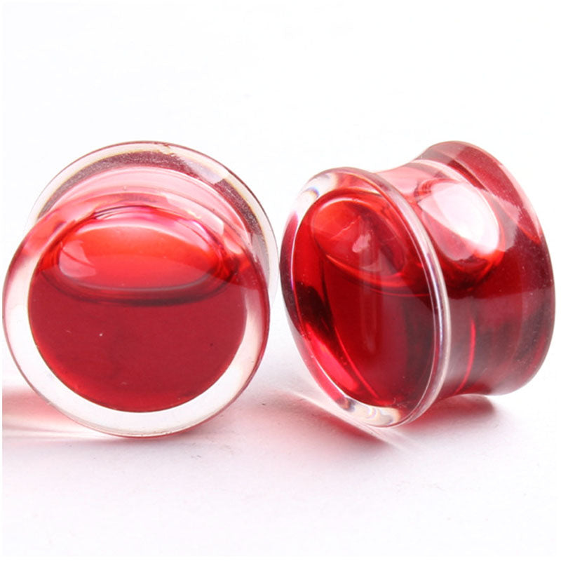 1 Pair Hot Sell Blood Red Liquid Filled Ear Plugs Flesh Tunnels