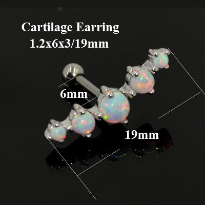 1Pc Opal Stone Ear Tragus Cartilage Labret Studs Nipple Barbell Nose