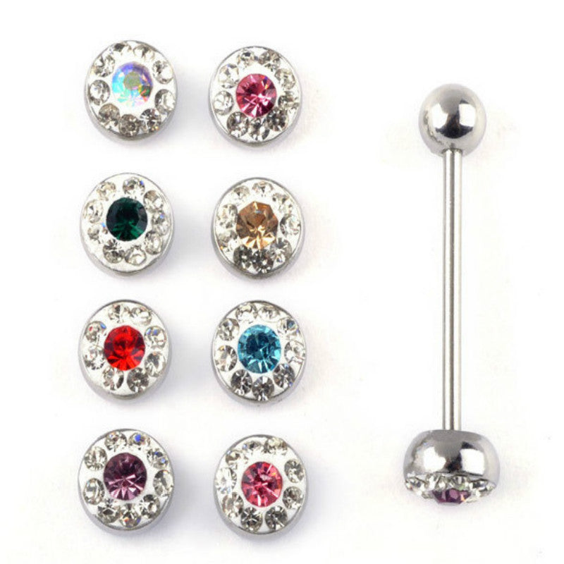 12 pcs/set Surgical Steel Eyebrow Piercing langue Crystal Nose Lip