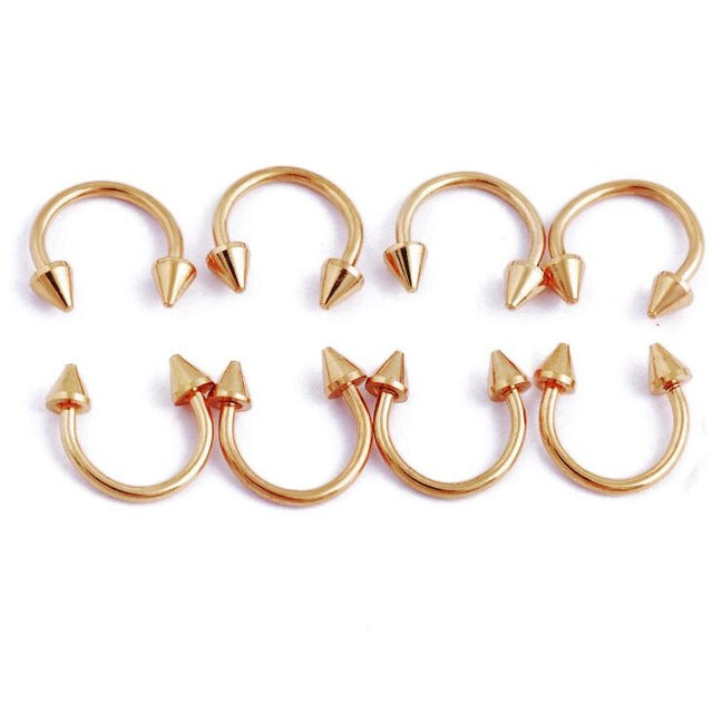 12Pcs/lot Anodized Circular Barbell Horseshoe Piercing Septum Lip
