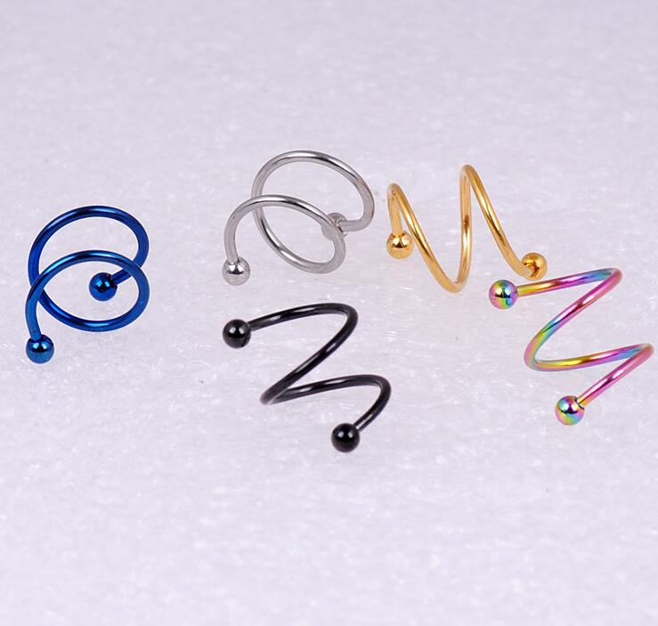 10 Pcs/Lot spiral twister Nose Rings Stainless Steel Body Piercing