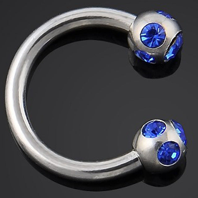 1pc/order Andoized Silver Stainless Steel Circular Barbell Piercing