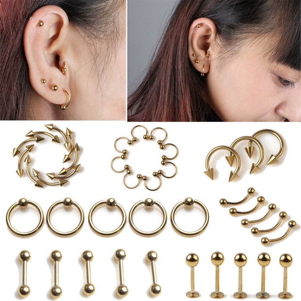 10PCS wholesale Fashion New Arrivals Rose Gold Color Captive Bead Ring