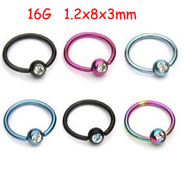 SaYao 2Piece Colorful Stainless Steel Captive Hoop Rings CBR Eyebrow