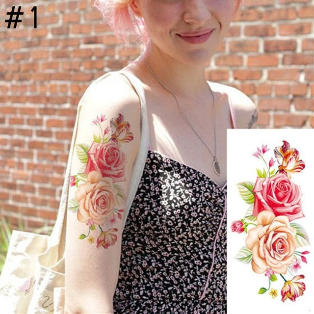 4005ff50a 1PC New Fashion Removable Women Lady 3D Flowers Waterproof Temporary Tattoo  Stickers Beauty Body Art Easy Wear And Easy Clean