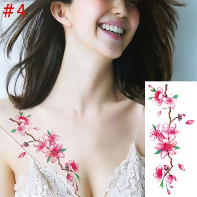 c43dc5e7a 1PC New Fashion Removable Women Lady 3D Flowers Waterproof Temporary Tattoo  Stickers Beauty Body Art Easy