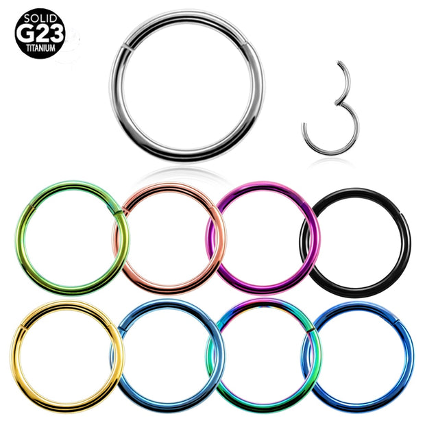1PC G23 Titanium Hinged Segment Nose Ring 16g&14g Nipple Clicker Ear Cartilage Tragus Helix Lip Piercing Unisex Fashion Jewelry
