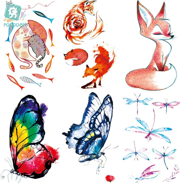 Rocooart RC369-395 New Water Proof Temporary Tattoo Stickers Cartoon Coloful Kid's Drawing Fox Fake Flash Taty Tattoo tatouage
