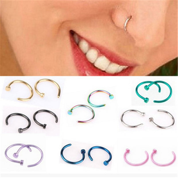MISANANRYNE Fake Septum Medical Titanium Nose Ring Silver Gold Body Clip Hoop For Women Septum Piercing Clip Jewelry Gift 1pc