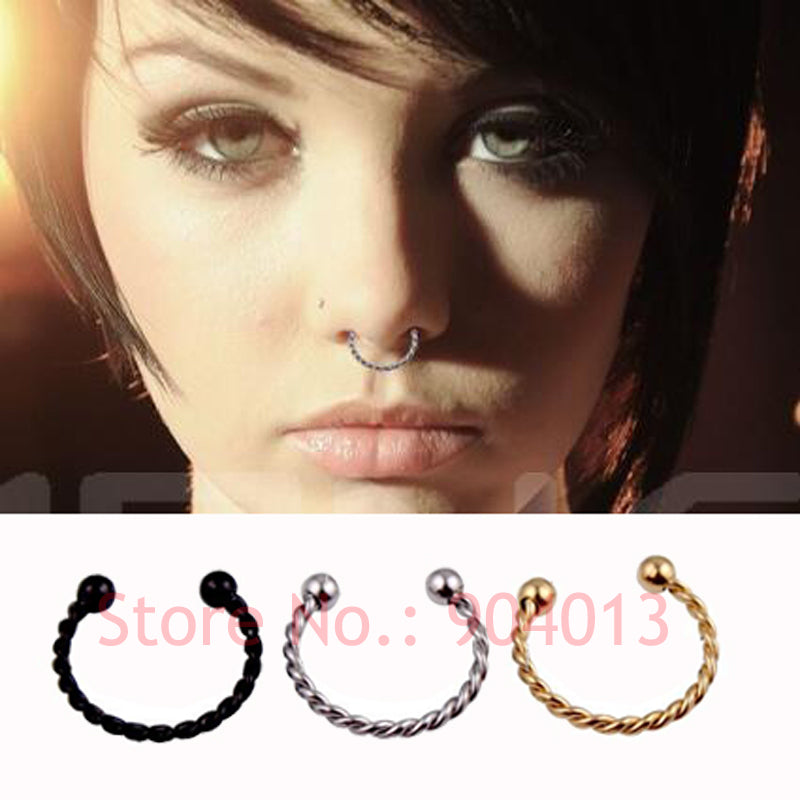1 Pieces Gold Silver Black Surgical Steel Titanium  Fake Nose Ring