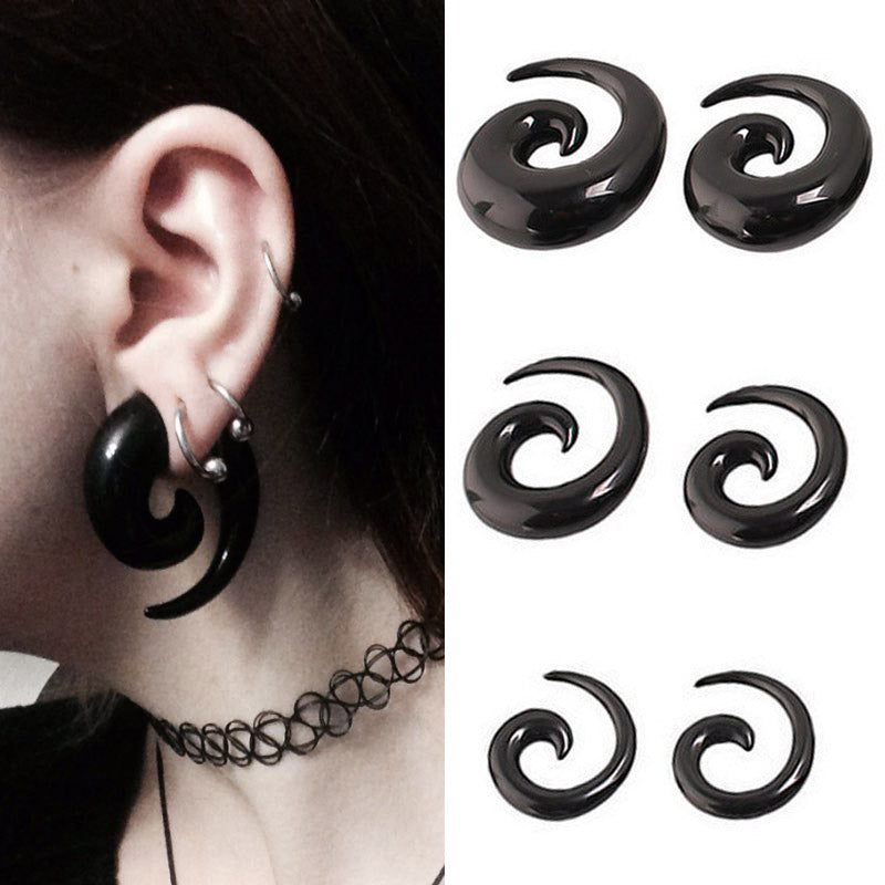2pcs Acrylic Spiral Taper Tunnel Ear Stretcher Plugs Expanders Body