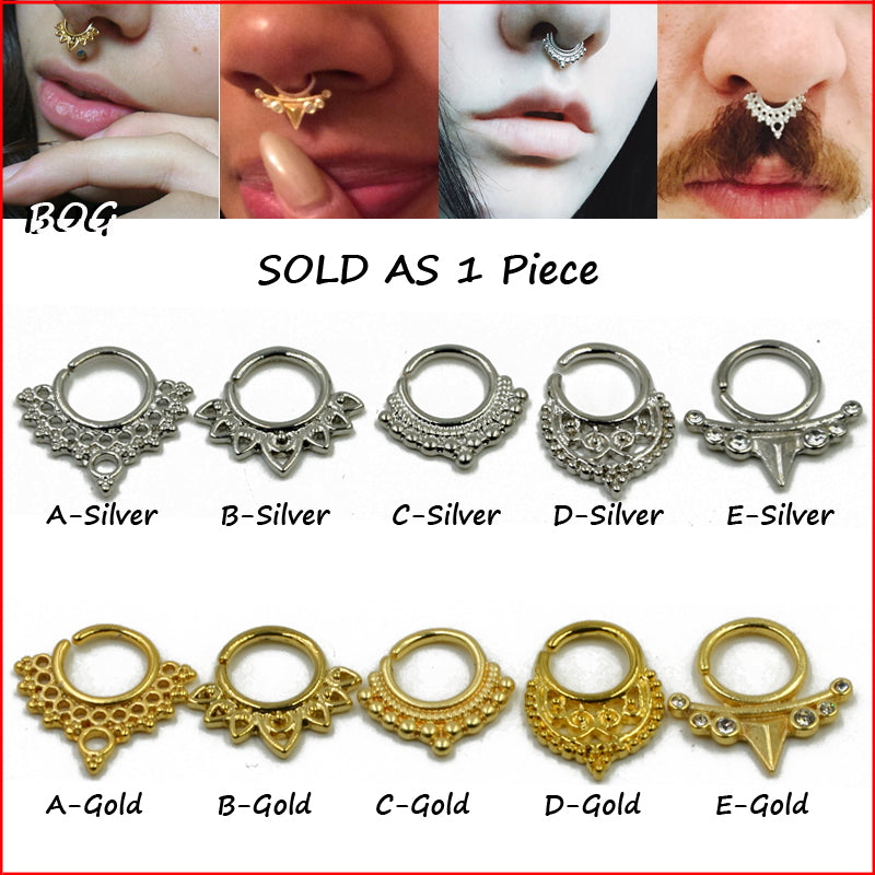 BOG-Fashion 1 pc Real  Pieced Septum Nose Clicker  Pircing Ring Body
