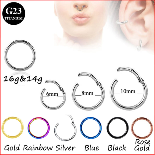 G23 Titanium Hinged Segment Ring 16g 14g Nose Lip Nipple Septum